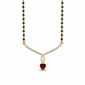 Heart Ruby Drop Mangalsutra