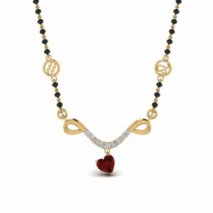 Mangalsutra Sun Sign Ruby With Beads