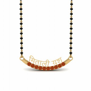 Personalised Mangalsutra With Orange Sapphire