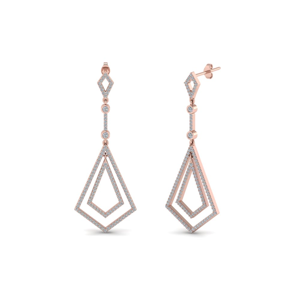 Open Kite Drop Diamond Earrings
