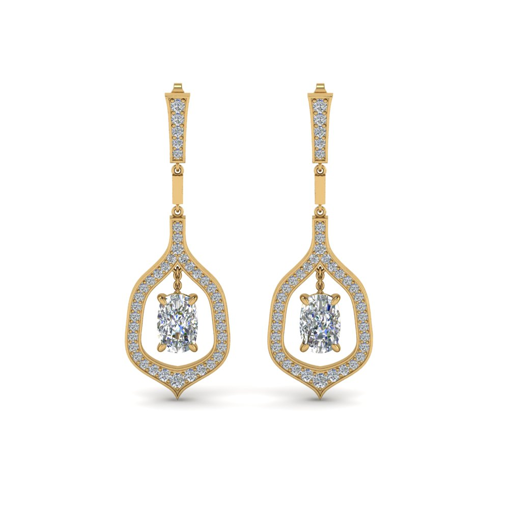 Pave Cushion Diamond Earrings