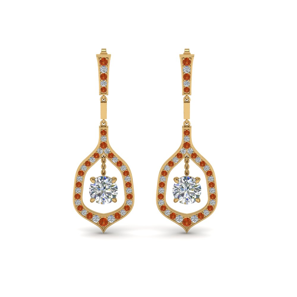 Round Diamond Orange Sapphire Earrings