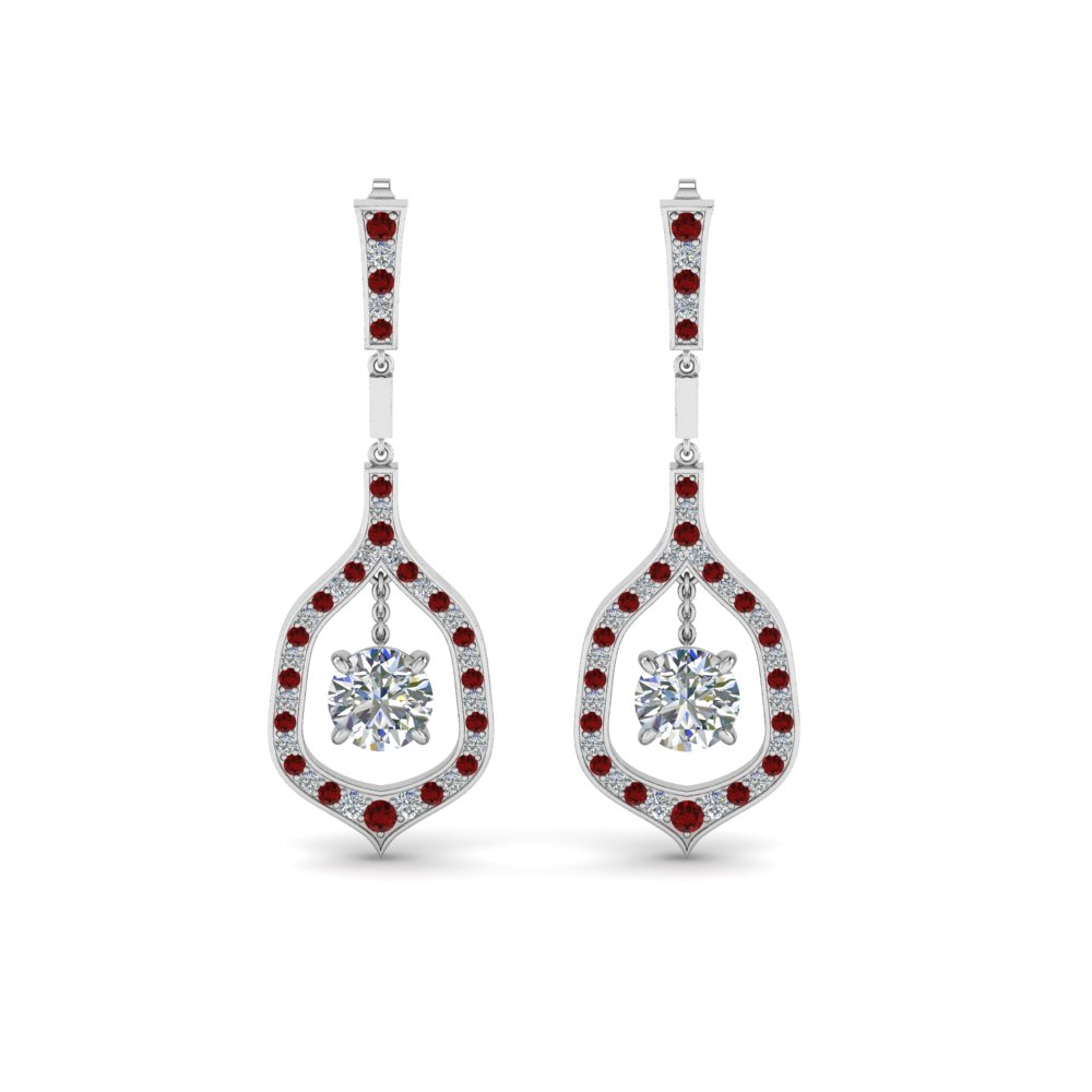 Platinum Ruby Drop Earrings