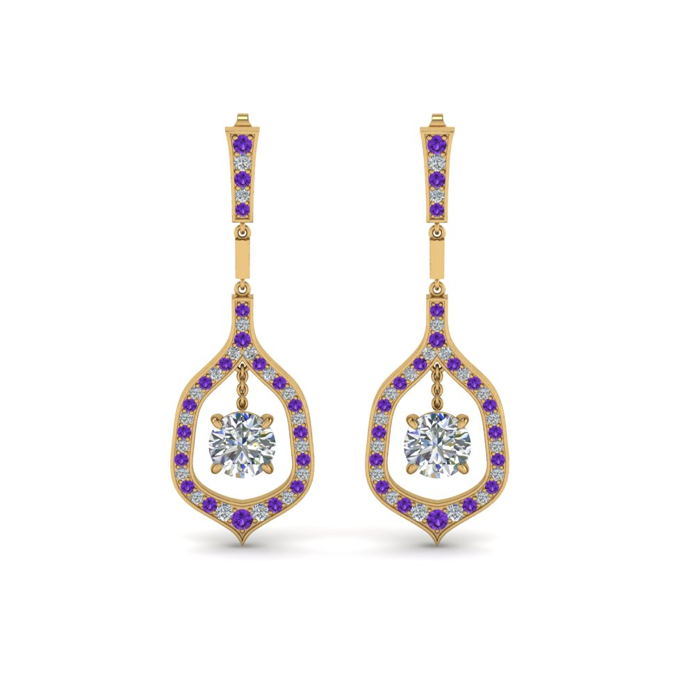 Round Diamond Purple Topaz Earrings