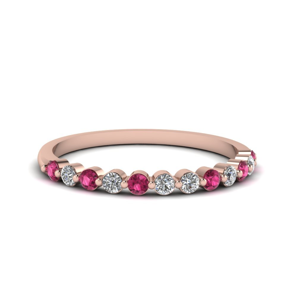 Pink Sapphire Shared Prong thin Diamond Band