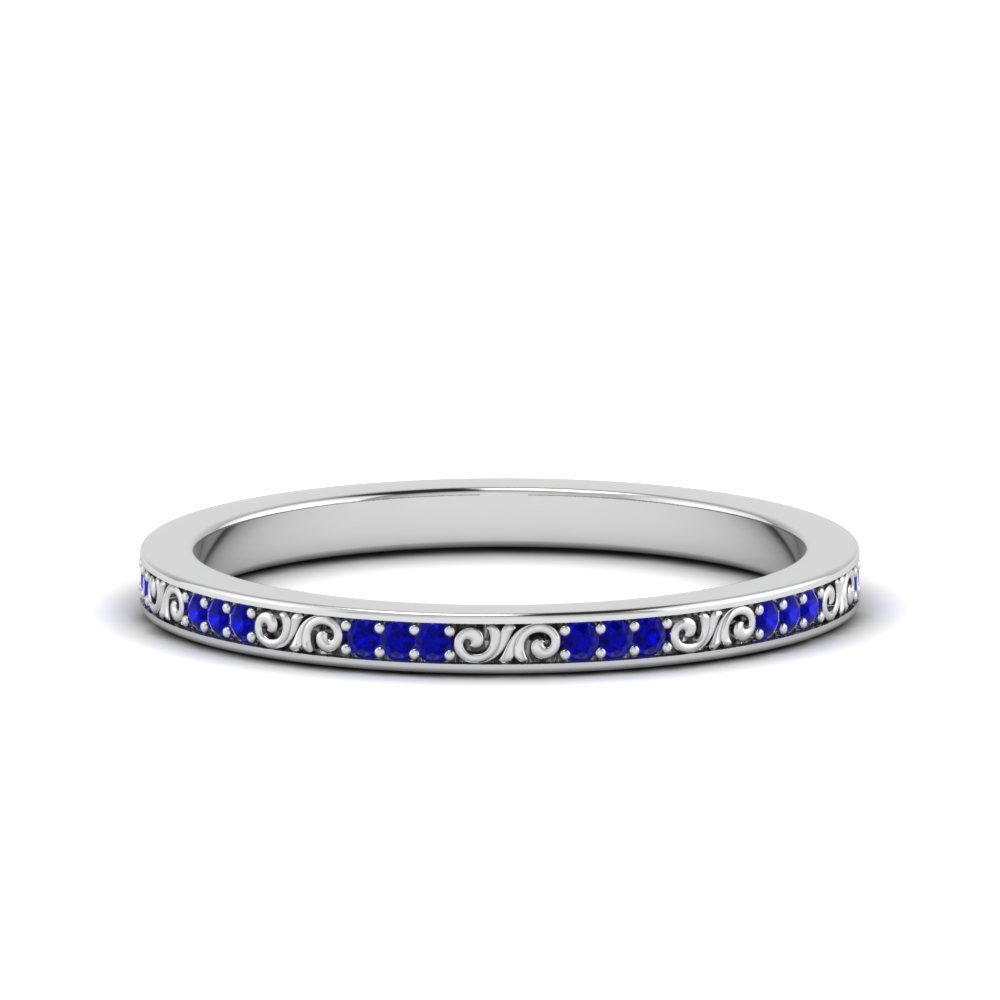 Thin Pave Colored Stone Band With Filigree
